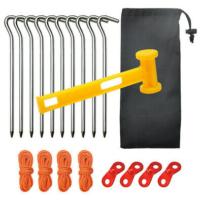 AU17.14 • Buy 10pcs Aluminum Alloy Tent Pegs Garden Stakes Fence Tarp Camping Floor Nails Hot!