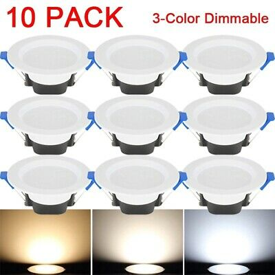 £8.99 • Buy 4/6/10Pcs 3-color Dimmable LED Ceilinglight Downlight Recessed Wall Lamp 85-265V