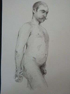 £19.99 • Buy Original Pencil Male Nude Life Drawing In Academic Style 19th Century Tradition