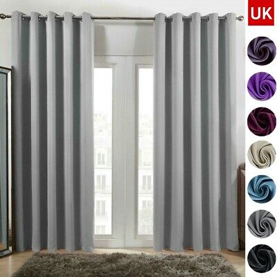 £12.99 • Buy Thick Thermal Blackout Curtains Eyelet Ring Top Made Pair Curtains Pair Blackout