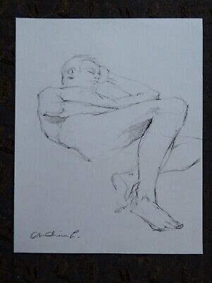 £19.99 • Buy Original Unframed Nude Male Studio Pencil Life Drawing Study In A Reclining Pose
