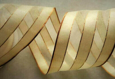 £2 • Buy Ribbon Peaches & Cream Striped With Old Rose Gold Wired Edge 2.5  Wide