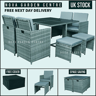£499 • Buy Garden Dining Furniture Rattan Cube Set Table Sofa Chair Outdoor Patio 8 Seater