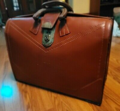 $269 • Buy Vintage 1950's Tan Leather Doctor Lawyer Scholar Briefcase  US  Yale Lock