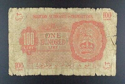 £14.33 • Buy (1943) British Military Authority In Tripolitania 100 Lire Banknote, P-M6a.