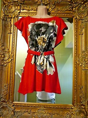 £12.99 • Buy Bnwt New Pussycat London Quirky Red Tunic 1970's Abba Look Dress Size L Uk 12