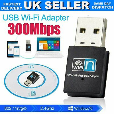 £3.29 • Buy USB WiFi Dongle 300Mbps   Wireless Network Adapter 802.11 B/G/N For Laptop PC UK