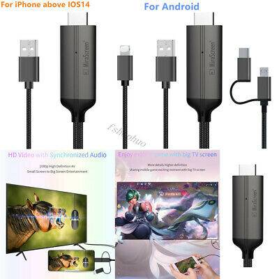 $ CDN13.83 • Buy 1080P HD HDMI Mirroring Cable Phone To TV HDTV Adapter For IPhone/ IPad/ Android