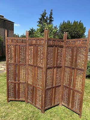 £95 • Buy 4 Panel Carved Wooden Screen