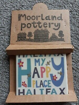 £6 • Buy Moorland Pottery, Tile Coaster. Halifax My Happy Place. Brand New.