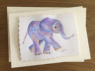 £4 • Buy Hand Painted Elephant Greeting Card. A5 Size. Original Artist Watercolour.