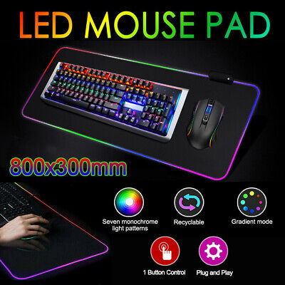AU21.39 • Buy RGB LED Gaming Mouse Pad Extended Large Anti-Slip Computer PC Keyboard Desk Mat
