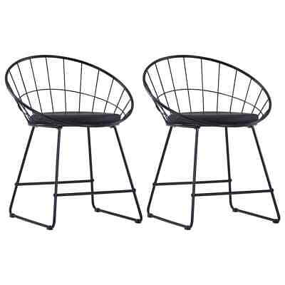 AU175 • Buy Dining Chairs With Faux Leather Seats 2 Pcs Black Steel