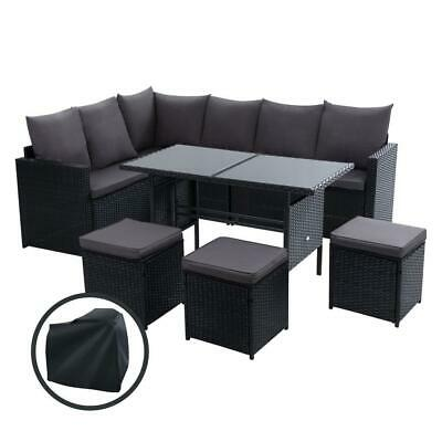 AU798 • Buy Outdoor Furniture Dining Setting Sofa Set Wicker 9 Seater Storage Cover Black