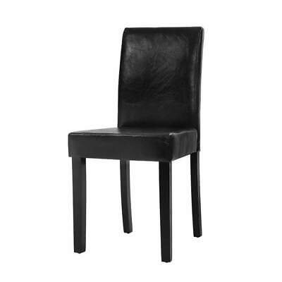 AU158 • Buy 2x Dining Chairs PU Leather Padded High Back Wood Cafe Kitchen Black
