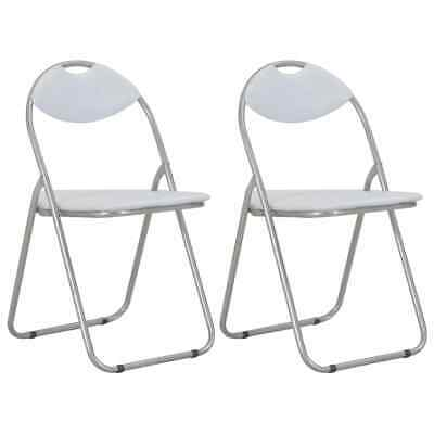 AU104 • Buy Folding Dining Chairs 2 Pcs White Faux Leather