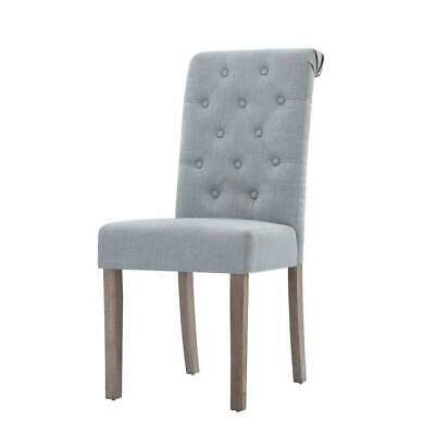 AU200 • Buy 2x Dining Chairs French Provincial Kitchen Cafe Fabric Padded High Back Pine ...