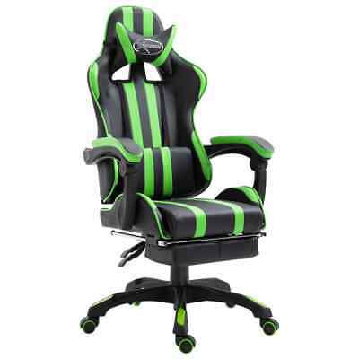 AU188 • Buy Gaming Chair With Footrest Green Faux Leather