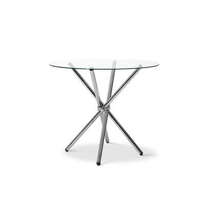 AU152 • Buy Round Dining Table 4 Seater 90cm Tempered Glass Clear Chrome Steel Legs Cross...
