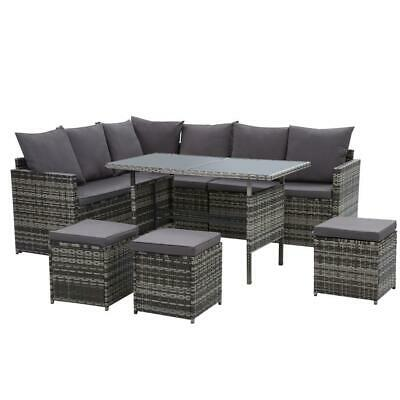 AU815 • Buy Outdoor Furniture Dining Setting Sofa Set Lounge Wicker 9 Seater Mixed Grey