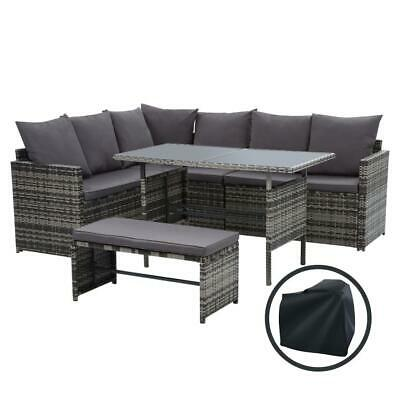 AU732 • Buy Outdoor Furniture Dining Setting Sofa Set Wicker 8 Seater Storage Cover Mixed...