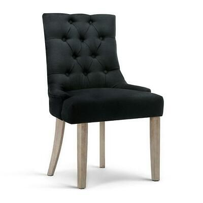 AU163 • Buy Dining Chairs Chair French Provincial Wooden Fabric Retro Cafe Black X1