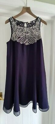 AU51.64 • Buy Bnwt Monsoon Navy  Special Occasion Dress Sparkly Silver Beading Sz 16