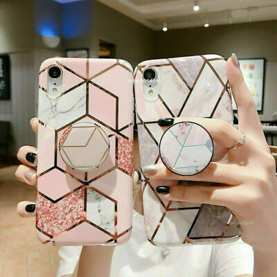 AU6.99 • Buy Geometric Marble Case For IPhone 11 Pro XS Max 8 7 Plus XR With Stand Holder AU