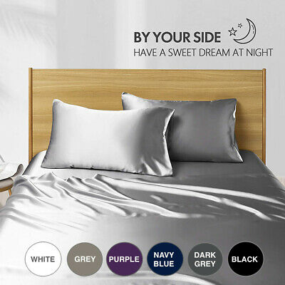 AU31.99 • Buy Satin Silky 1800TC Pillowcase Fitted Sheet Set Single/Double/Queen/King Cooling