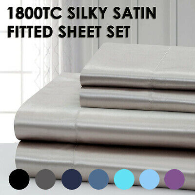 AU30.99 • Buy 1800TC Luxury Soft Silky Satin Fitted Sheet Set Pillowcases - No Flat Sheet NEW