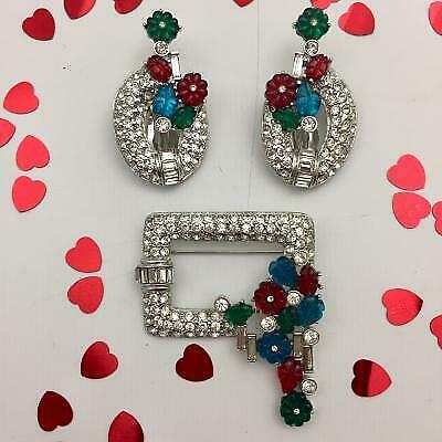 £9.99 • Buy Art Deco Style Brooch And Clip On Earrings Set, Diamante And Paste Floral Design