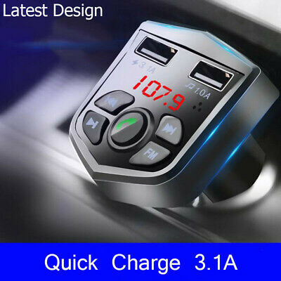 £5.49 • Buy Bluetooth Car FM Transmitter MP3 Player Radio Wireless Adapter Kit 2 USB Charger