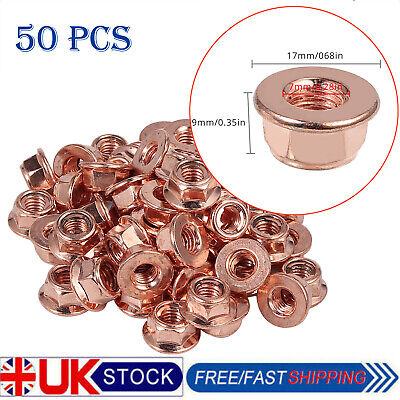 £9.55 • Buy 50x M8 Copper Flashed Exhaust Manifold Nut 8mm Nuts High Temperature Nuts Uk