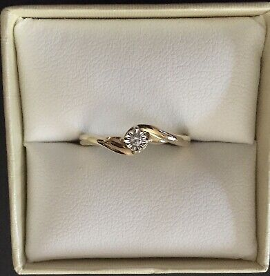 AU249 • Buy MICHAEL HILL 10ct YELLOW GOLD DIAMOND SOLITAIRE PROMISE RING - SIZE O 1/2