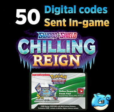 $13 • Buy X50 Chilling Reign Codes Booster Packs Ingame Pokemon TCG Online Sent Super Fast