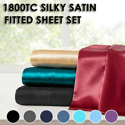 AU36.99 • Buy 3PC Satin Silky Soft Fitted Sheet Set Queen/King Size Fitted PillowCase 7 Colors