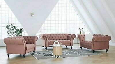 £319.99 • Buy Velvet Fabric Sofa Chesterfield Style Modern Couch Suite Set Luxury Curved Sofa