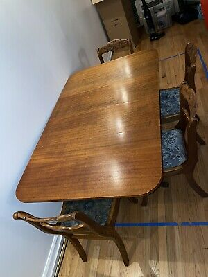 $720 • Buy 1930's Duncan Phyfe Mahogany Drop Leaf Antique Table With 4 Tell City Chairs