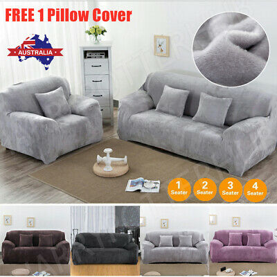 AU27.59 • Buy Velvet Plush Sofa Cover Stretch Couch Cover Furniture Protector 1/2/3/4 Seater