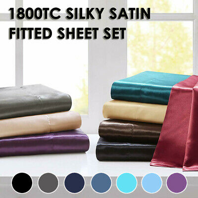 AU31.99 • Buy 1800TC Ultra Soft Satin Deep Fitted Sheet Set Single/Double/Queen/King Bed New