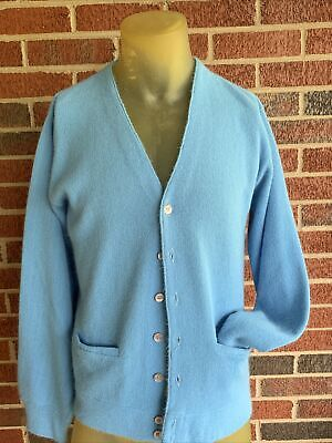 $37 • Buy Vtg Sears The Mens Store Button Down Cardigan Sweater Mens Size M Blue 50s 60s