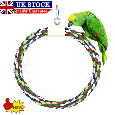 £6.29 • Buy Pet Bird Parrot Cotton Rope Circle Ring Stand Hanging Swing Cage Playing Toy
