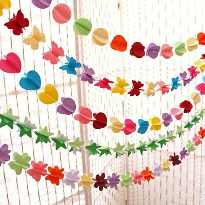 £1.85 • Buy 3D Paper Flower Festival Banner Hanging Decor Garland Buntings Party Wedding