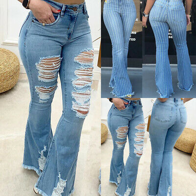 £17.49 • Buy Womens Ripped Flared Jeans Skinny Denim Pants High Waist Casual Stretch Trousers