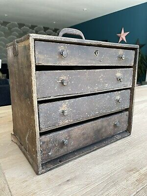 £60 • Buy Old Wooden Engineers Tool Box Chest Of Drawers Collectors 1950s