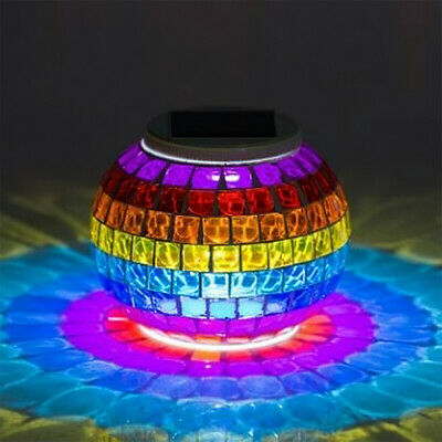 £14.99 • Buy LED Solar Powered Glass Mosaic Ball Lights Outdoor Garden Table Night Lamp Gift