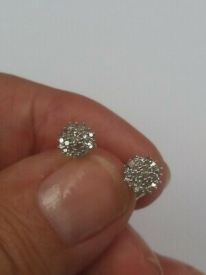 £76 • Buy DIAMOND .25cts STUD EARRINGS  -   Lovely Cluster Design -  NEW WITH TAGS