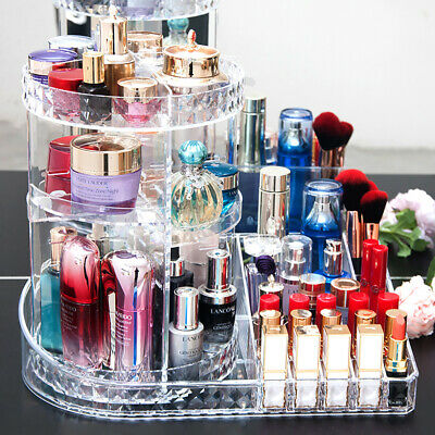 £15.95 • Buy Large Clear Makeup Organizer Holder Rotating Cosmetics Shelf Tower Perfume Stand