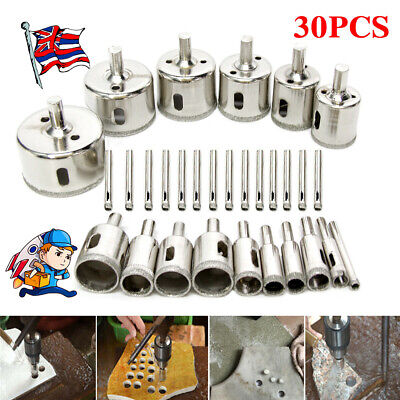 £16.49 • Buy Diamond Cutter Coated Core Hole Saw Set Hole Saw Drill Bit Tile For Glass 30Pcs