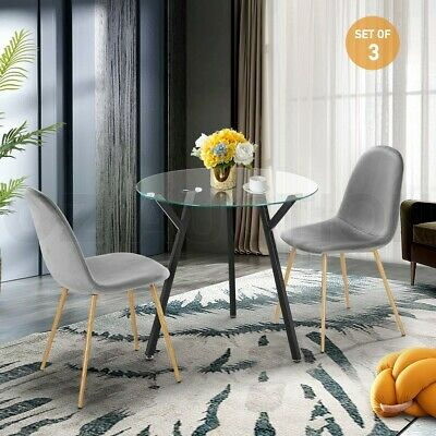 AU169.95 • Buy Modern Dining Table Chairs 3 Set Clear Glass Velvet Round Kitchen Furniture Grey